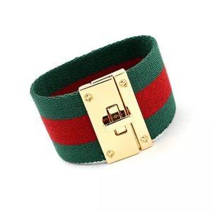 8997e0b1c Gucci Jewelry | Style Bracelet Green Red Stripes Bee Gold | Poshmark